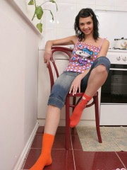 Cutie Abigail Flirts In The Kitchen - Picture 1