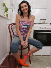 Cutie Abigail Flirts In The Kitchen - Picture 14