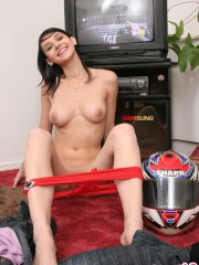 Unbelievable Sexy 18 Year Old Abigail Posing With A Big Helmet - Picture 11
