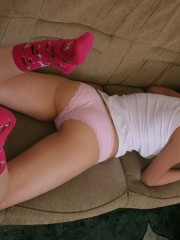 Young Abigail Taking Off Her Pink Panties - Picture 1